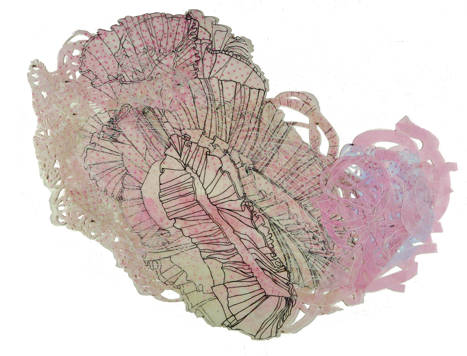 """Izabella 64"""" x 94"""" layered paper, silk and polyester, ink, acrylic"""