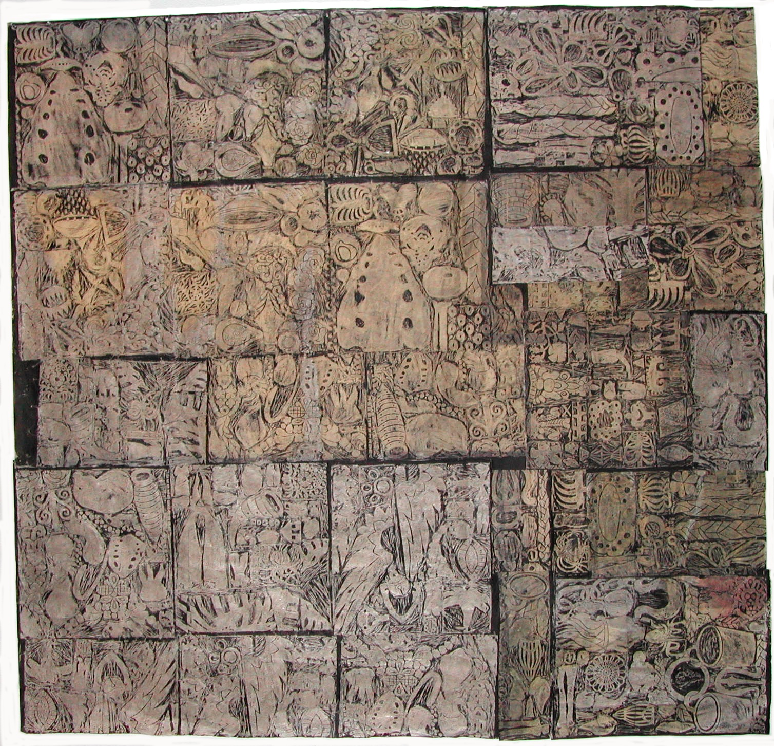 Imbue 9' x 9' wax, sumi ink, paste, Orkawara paper