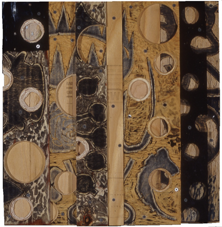 Transparent carved and layered plywood, enamel, screws