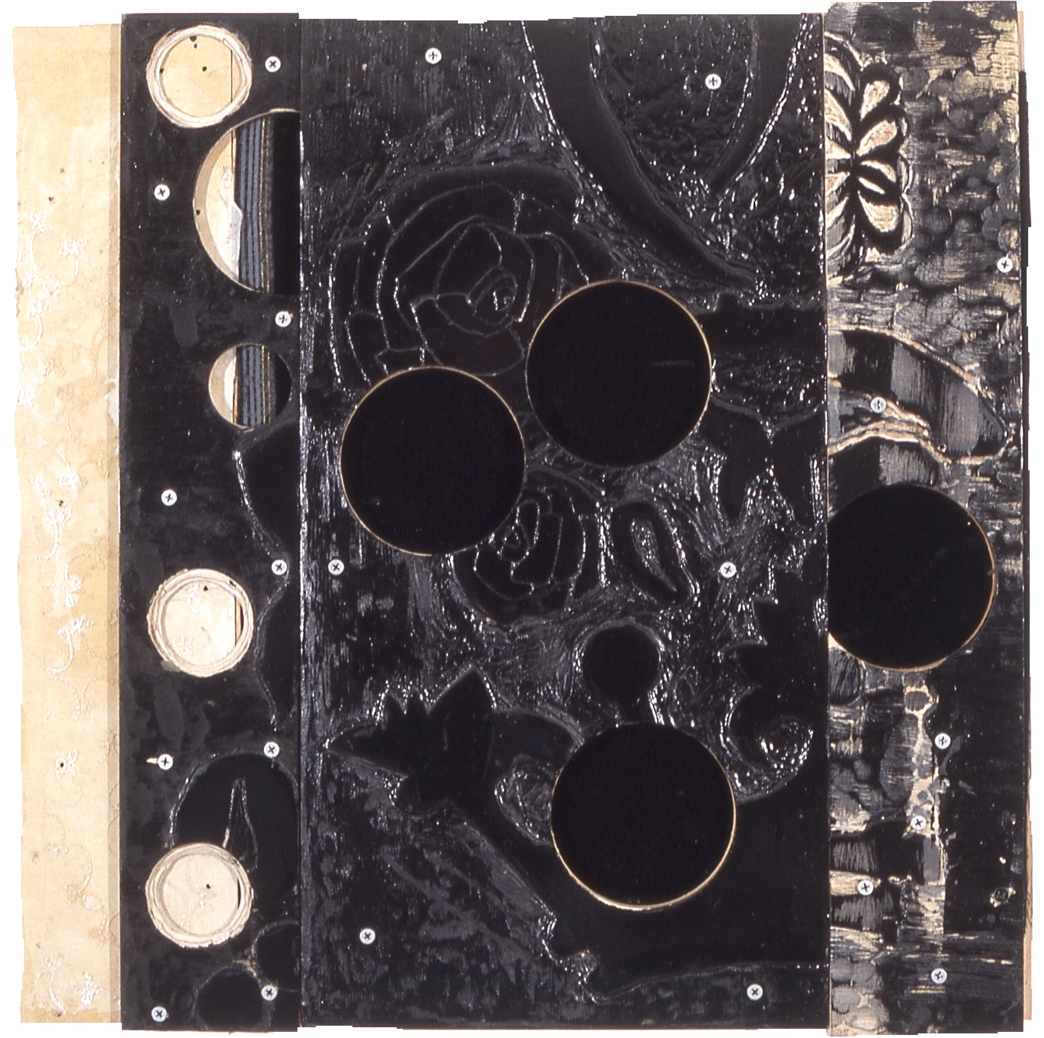 Velvet carved and layered plywood, enamel, fabric, screws