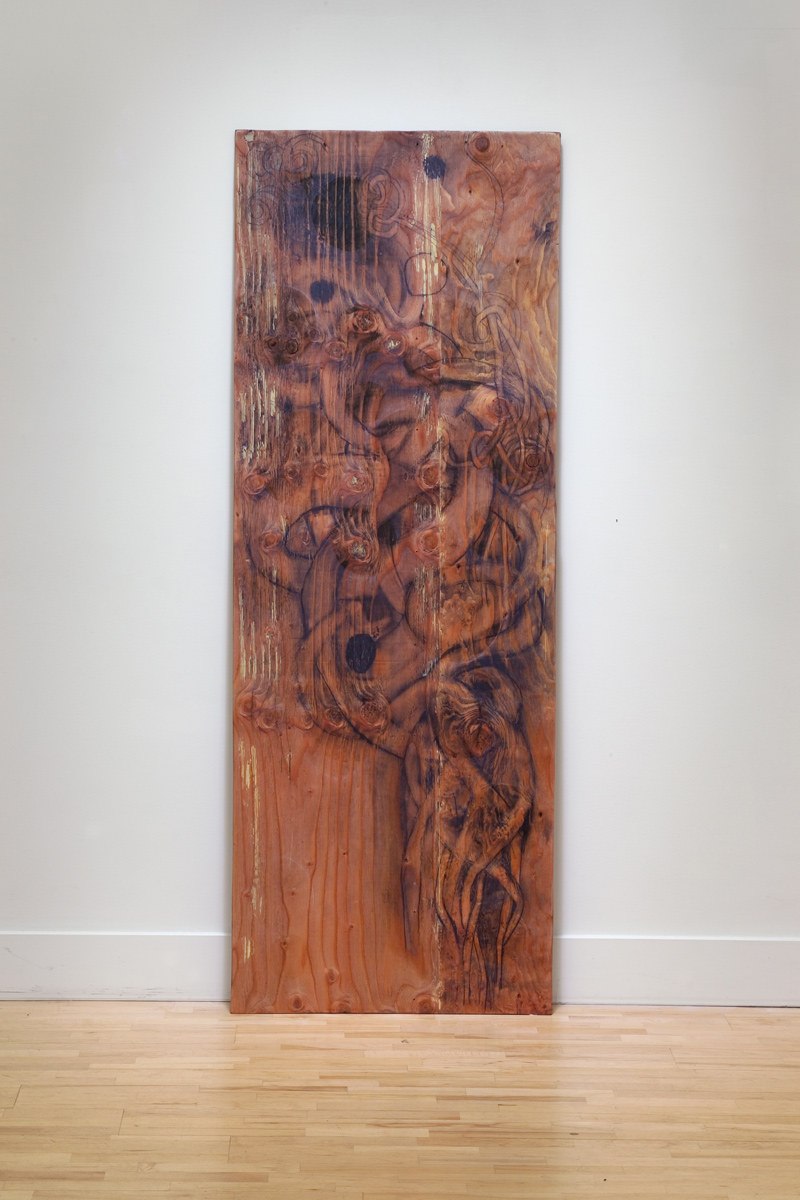 "Scrap 70"" x 25"" graphite, plywood, putty, shellac"