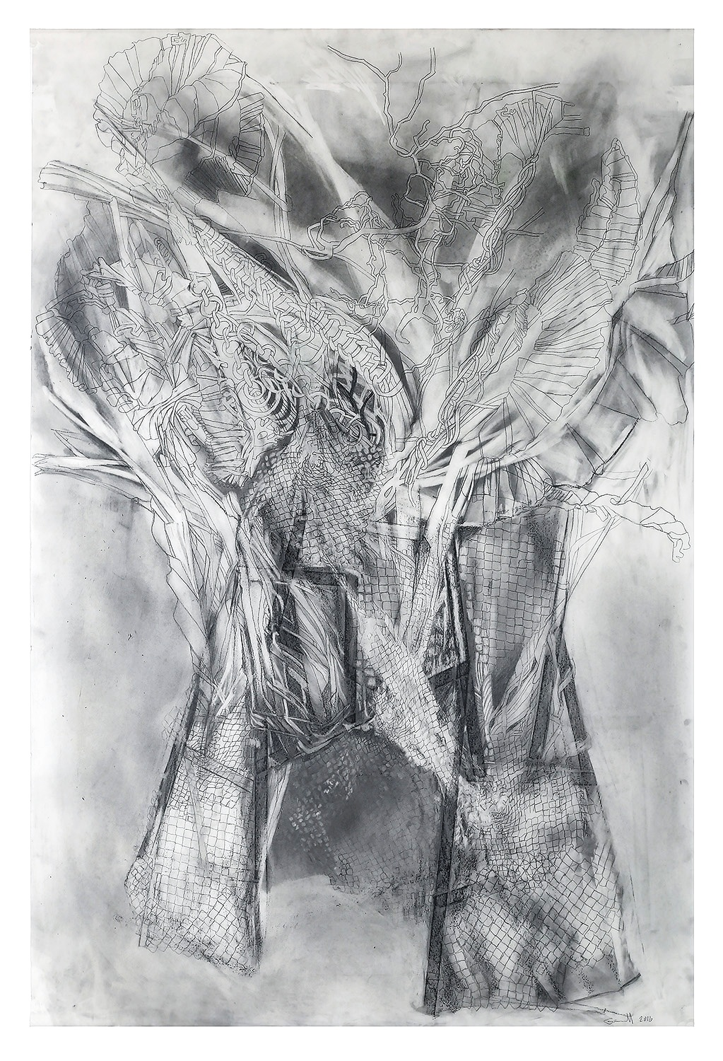 "Hut | 2016 38"" x 25"" graphite on vellum"