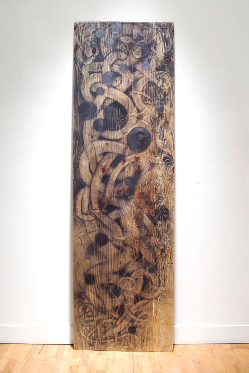 """Walnut 96"""" x 25"""" graphite, plywood"""