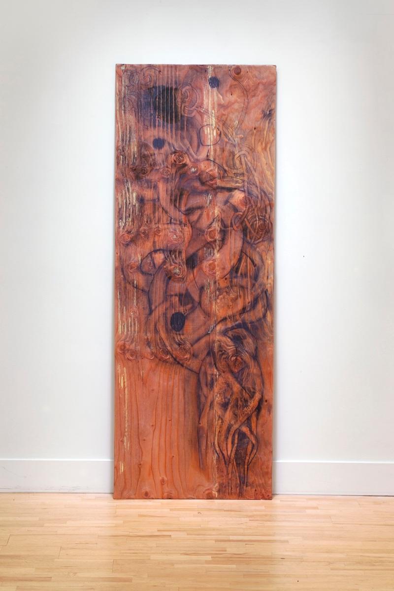 "Scrap 69"" x 29"" charcoal, plywood, enamel, wood putty, screws"