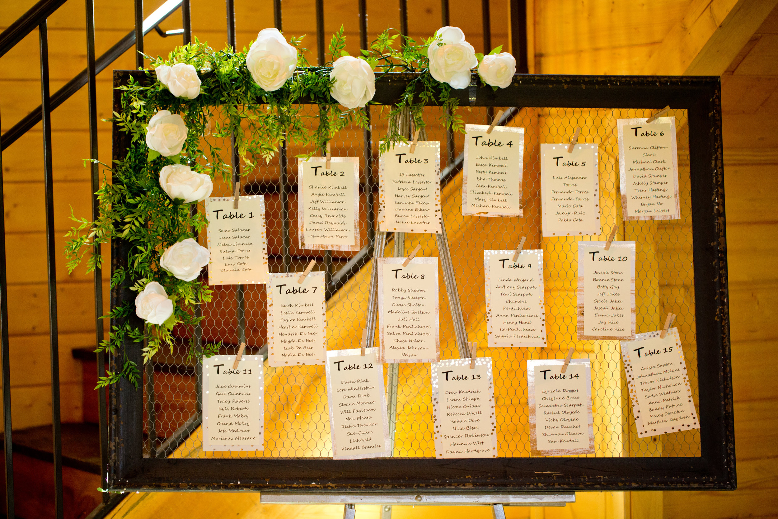 This framed wire board is perfect for displaying a seating chart. pc: Taken by Tate