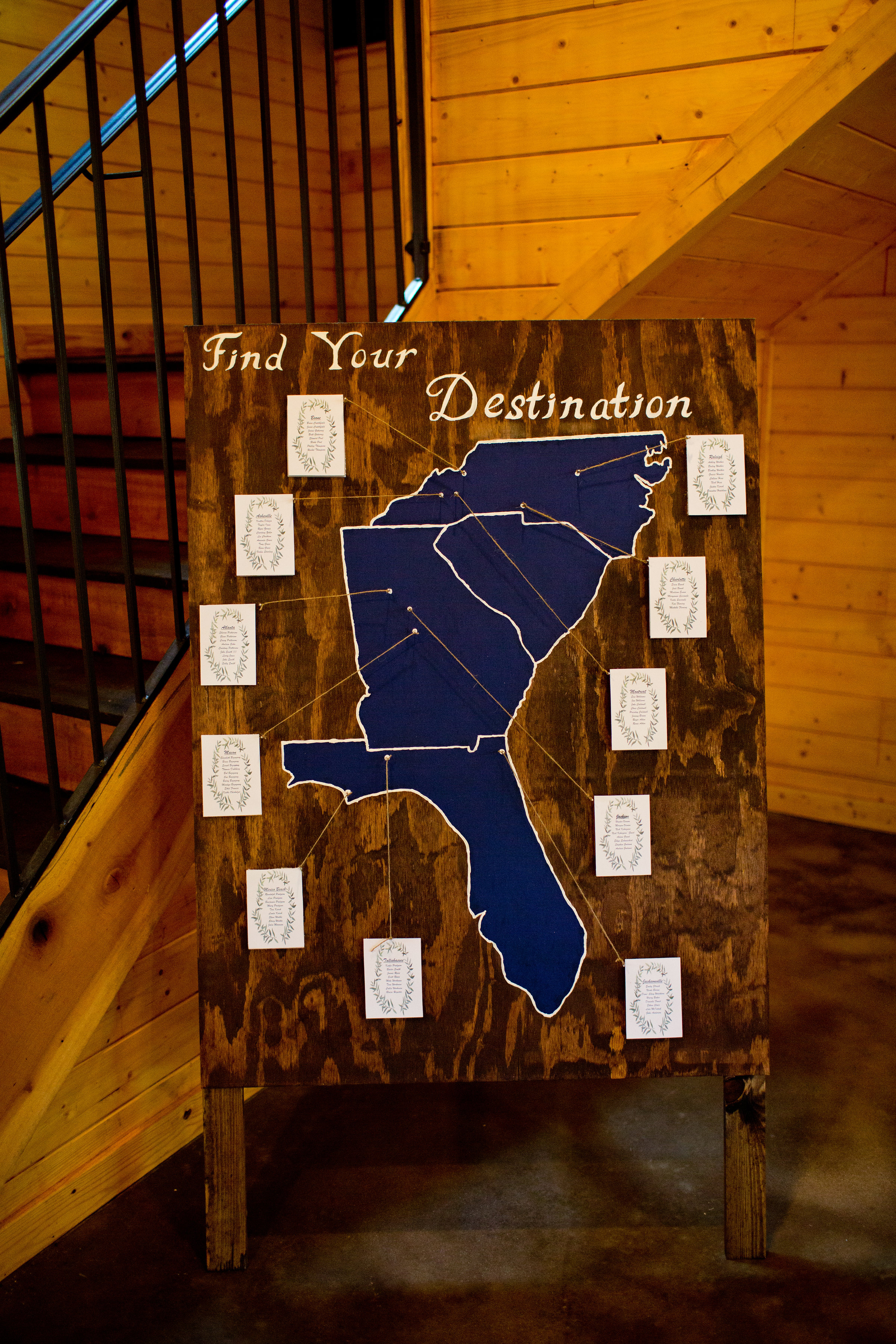 Creative, handmade seating chart highlighting all the places they lived! pc: Taken by Tate