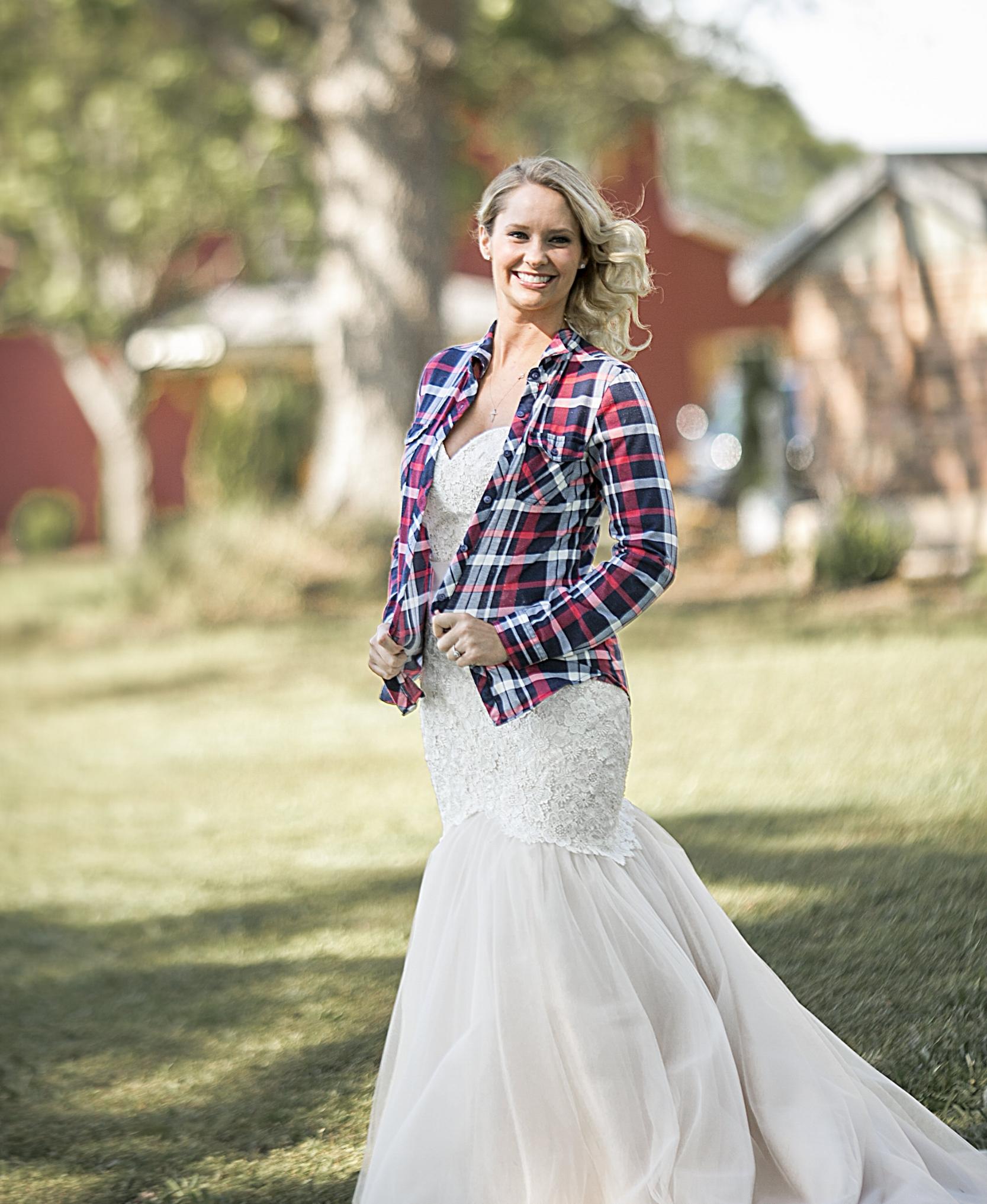 Plaid shirt + wedding dress, Once Upon a Lifetime Photography