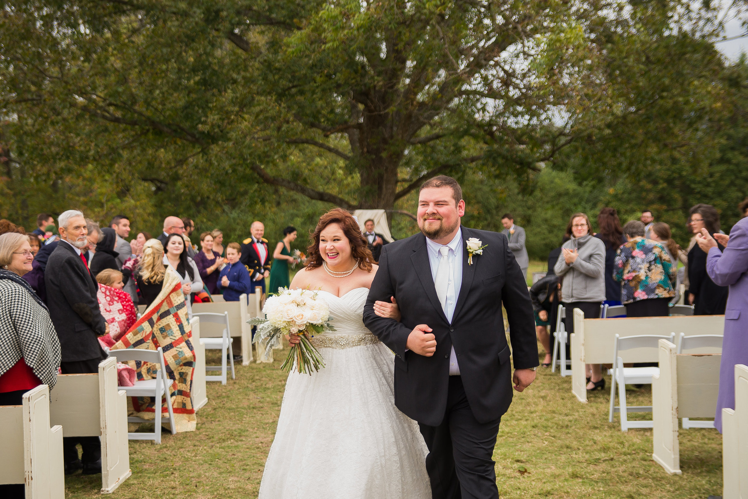 Outdoor wedding ceremony at Pepper Sprout Barn, picture by Morgan Corbett Photography