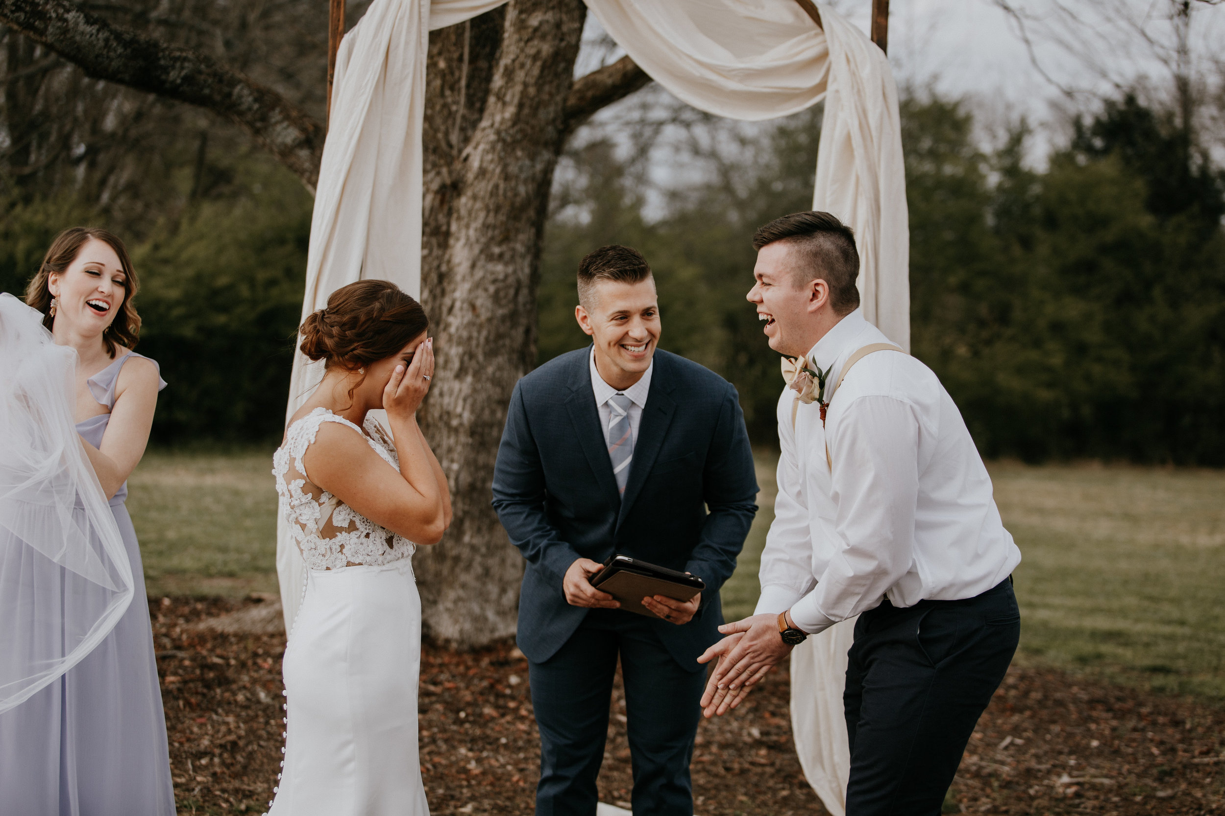 Outdoor wedding ceremony at Pepper Sprout Barn, picture by Brooke Miller Photography