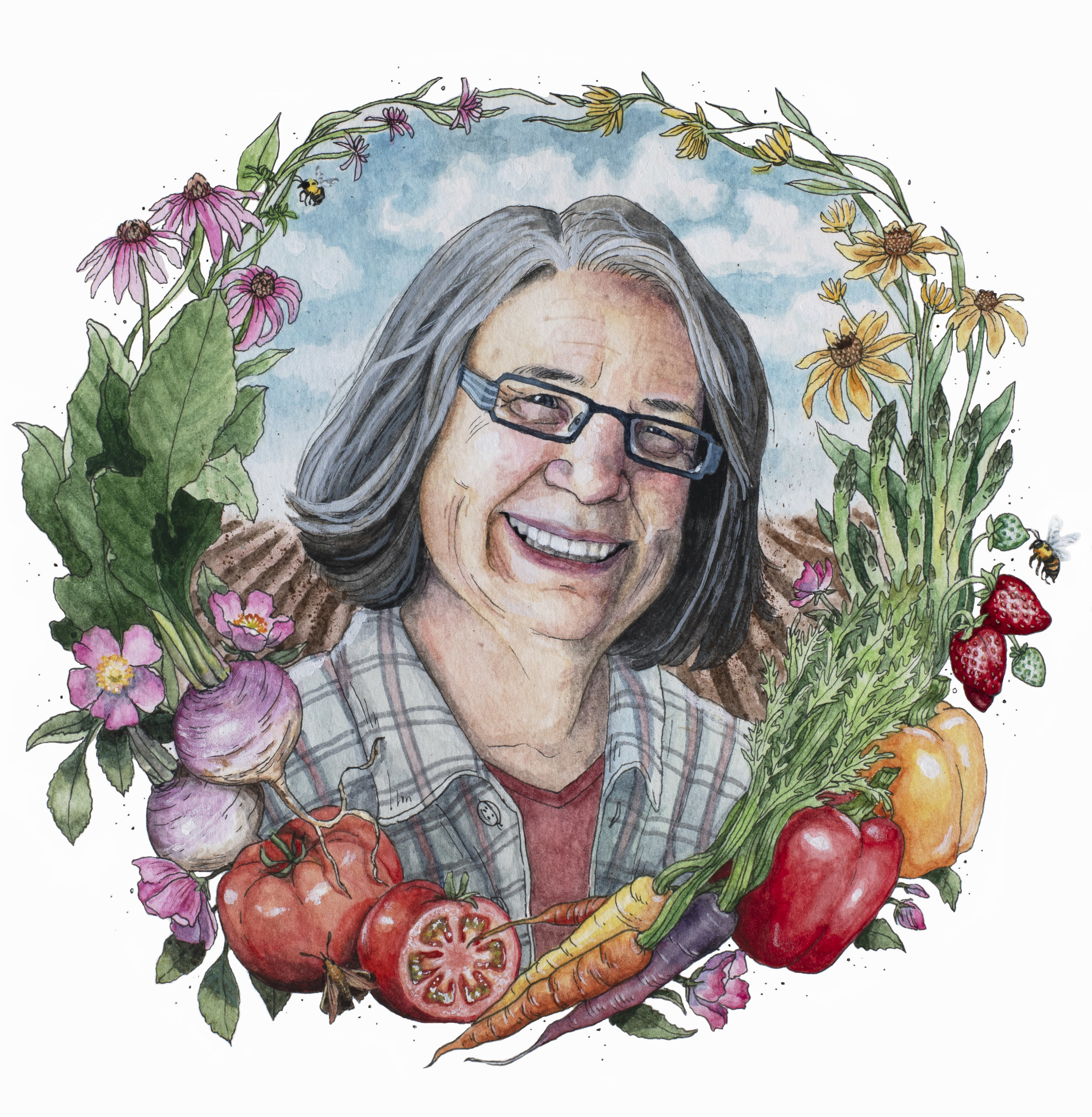Portrait of Founding Mother Denise O'Brien by Caylin Graham - Caylin's piece was featured in Amazing Iowa Women, recently released by Raygun. More of her art can be found here.Source: Amazing Iowa Women by Katy Swalwell (RAYGUN, 2018)