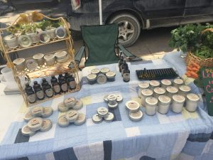 Hilary Quinn's Harmony Farms and Skin Care products at market