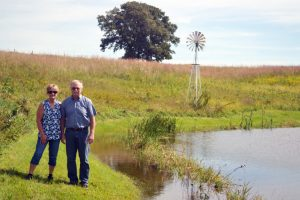 Jan and Rob near one of their ponds (photo credit NRCS)