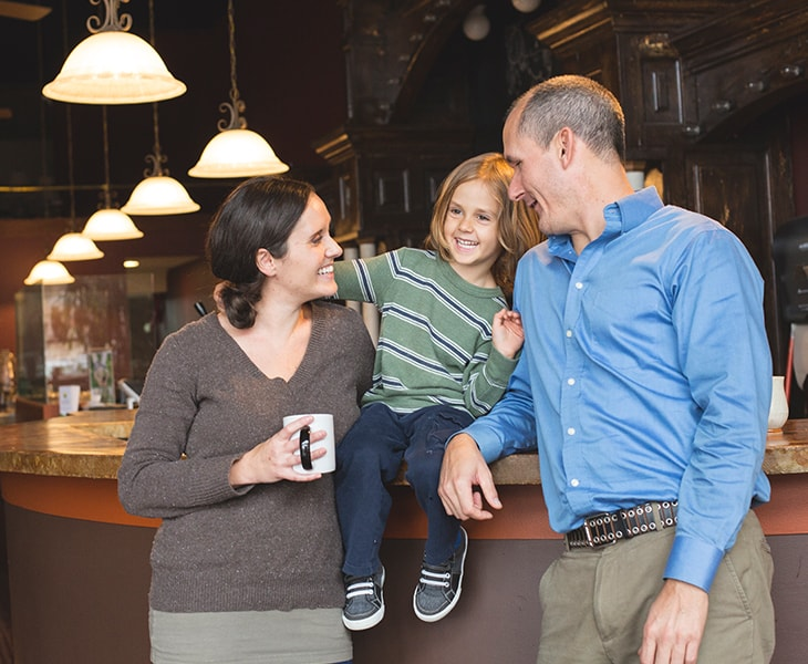 Jessica Parks is a recently elected City Councillor in Kirksville, Missouri. She's pictured here with her family in the donation based cafe she's the Executive Director of,  Take Root Cafe .