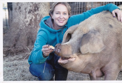 Megan Brown pictured with her sow Marissa.