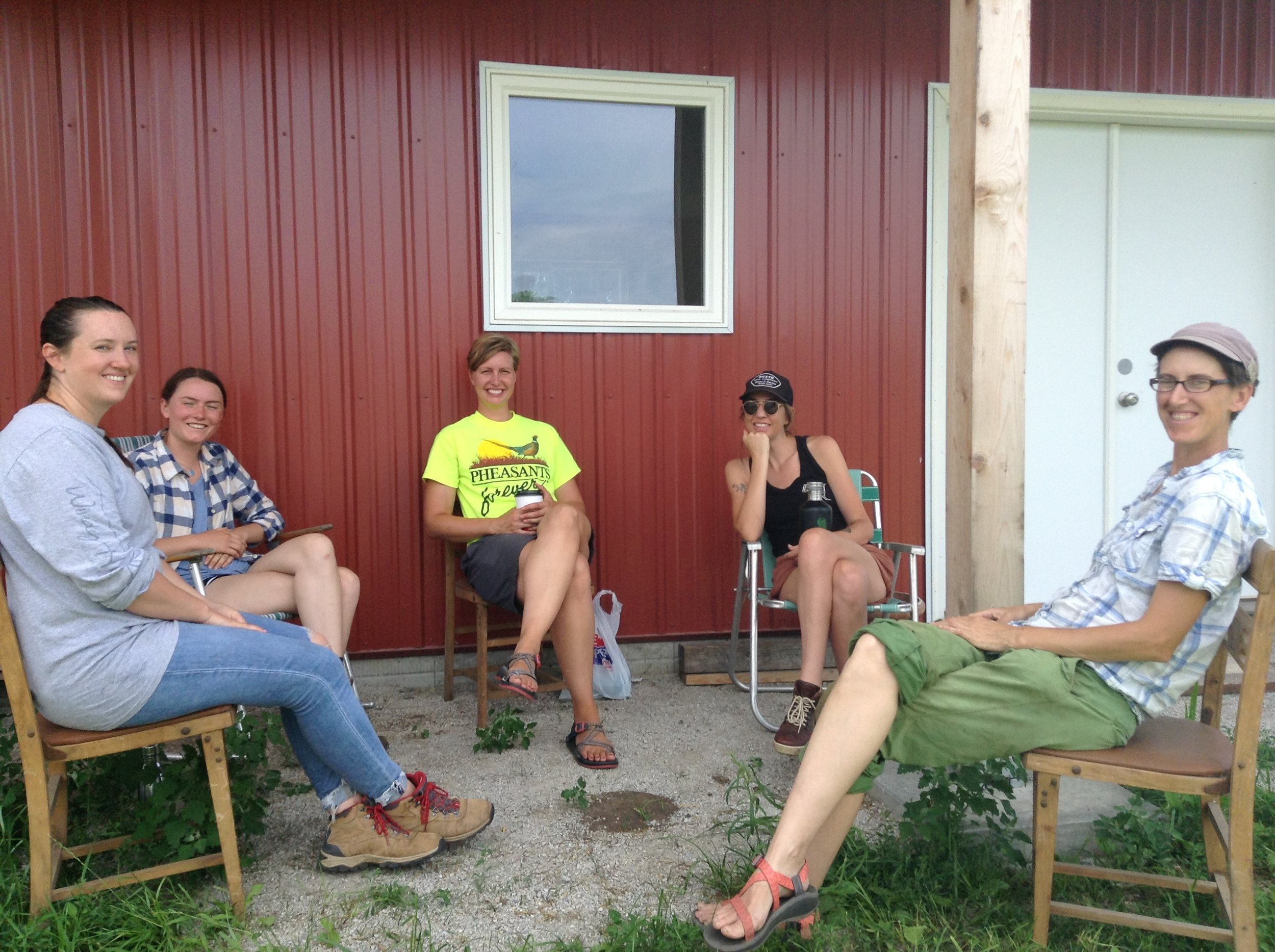 2019 HOP mentees Nicole, Caitlin, Brigham, and Emily, along with HOP mentor Alice at the HOP retreat on Mustard Seed Farm.