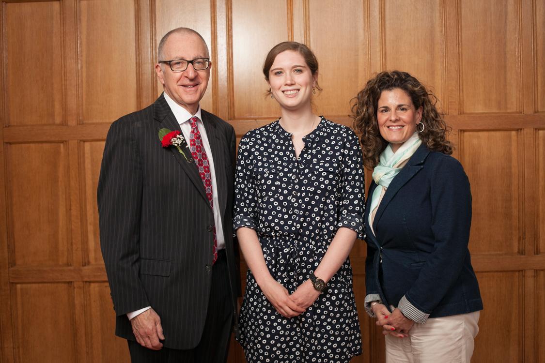 Dominique Padurano (far right) pictured with her student Devon McMahon (center) and David J. Skorton, President of Cornell University