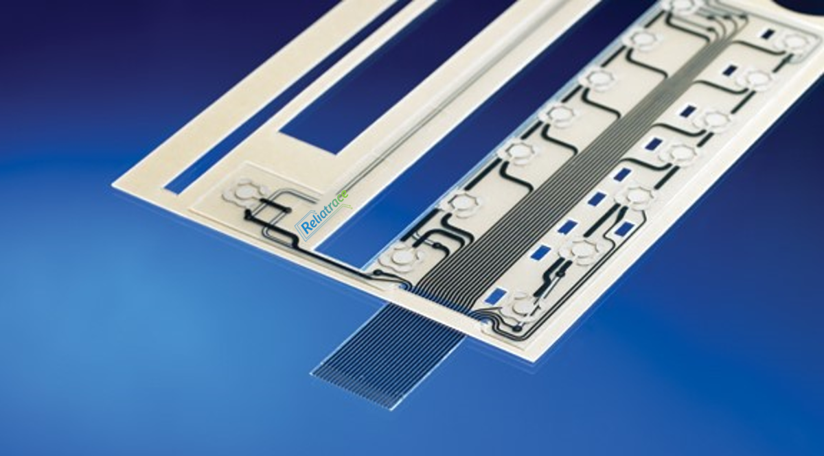 Reliaswitch® has traces printed on both sides of the substrate, allowing circuitry located  above  an LED / display window to be connected to the circuitry  below  the window — without the use of cross-overs or a dual tail design — significantly increasing your reliability and cost-efficiency.