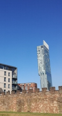 The Beetham Tower/Hilton Hotel rising above the city of Manchester, viewed from Castlefield.