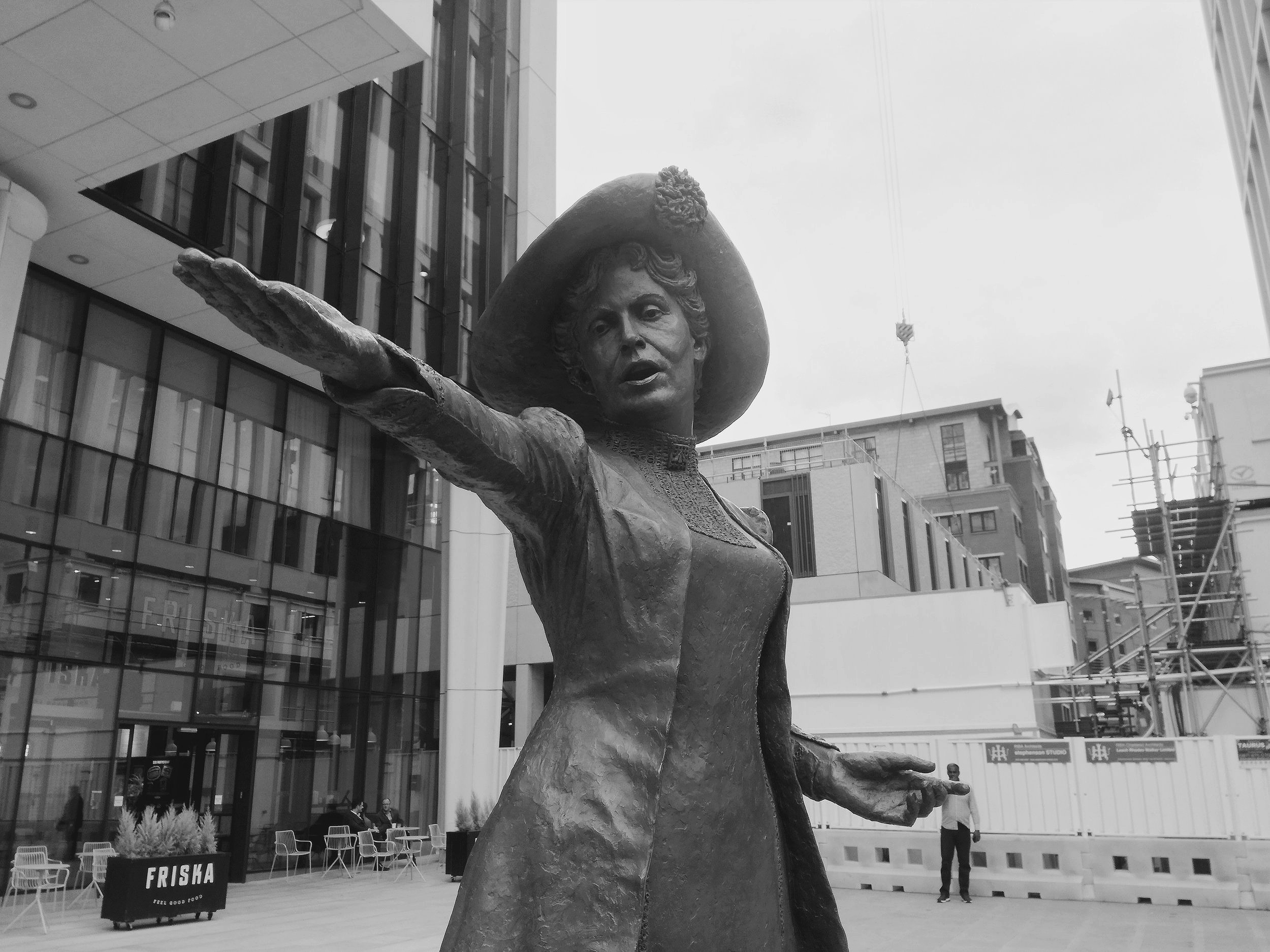"""""""Women Rise Up"""": Statue of Emmeline Pankhurst in St Peter's Square, central Manchester, made by Hazel Reeves (2018)"""