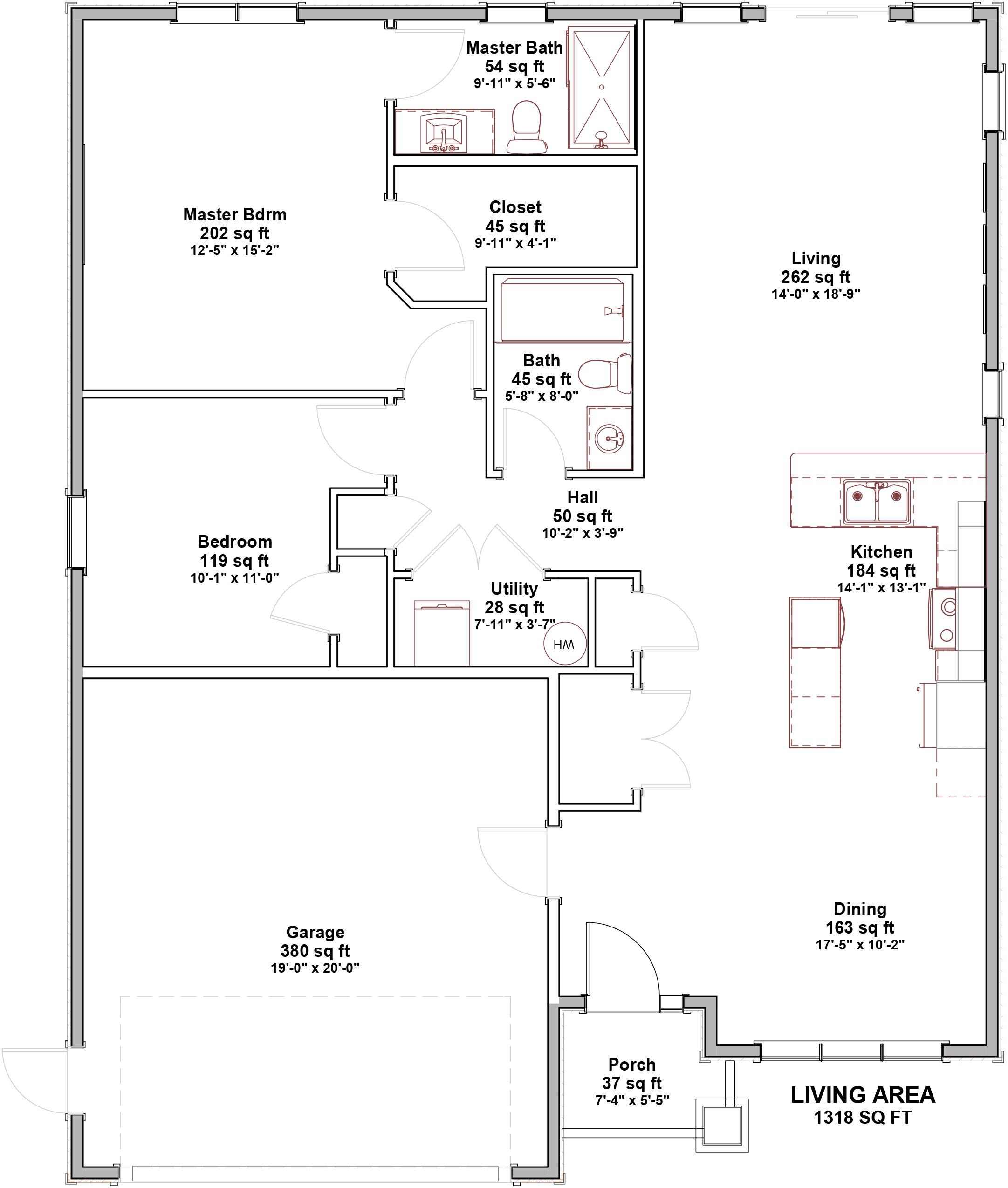 2 Bedroom Open Concept