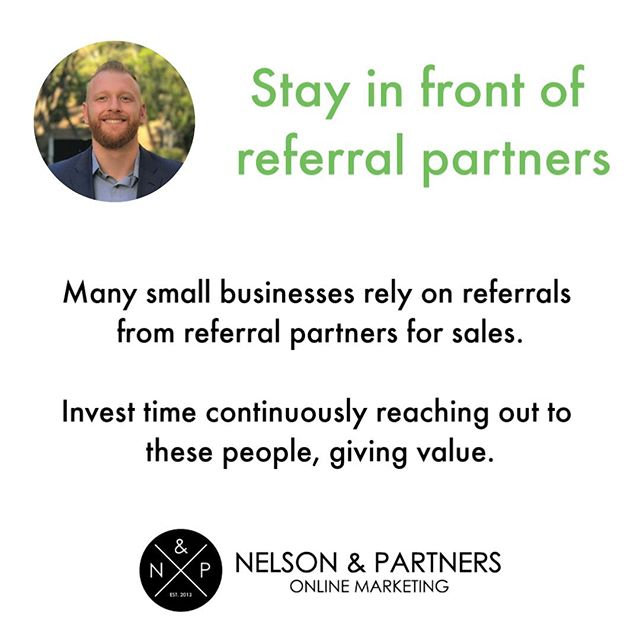 Referral partners are key for the start & growth of small businesses. ⠀ ⠀ Part of any small business marketing plan should include direct outreach and investing time in nurturing fruitful referral based relationships.⠀ ⠀ For example, if you are a realtor and you know that a great referral partner is a contractor, like a person that already refers you business - you should spend time and energy reaching out to other contractors as well as nurturing your already prosperous relationship with the contractor you know already.⠀ ⠀ #NelsonAndPartners #OutreachTips⠀ ⠀ ⠀ .⠀ .⠀ .⠀ .⠀ .⠀ #smallbusiness #digitalmarketing #onlinemarketing #marketing #referrals #tips #marketingtips #marketinginfo #entrepreneurship