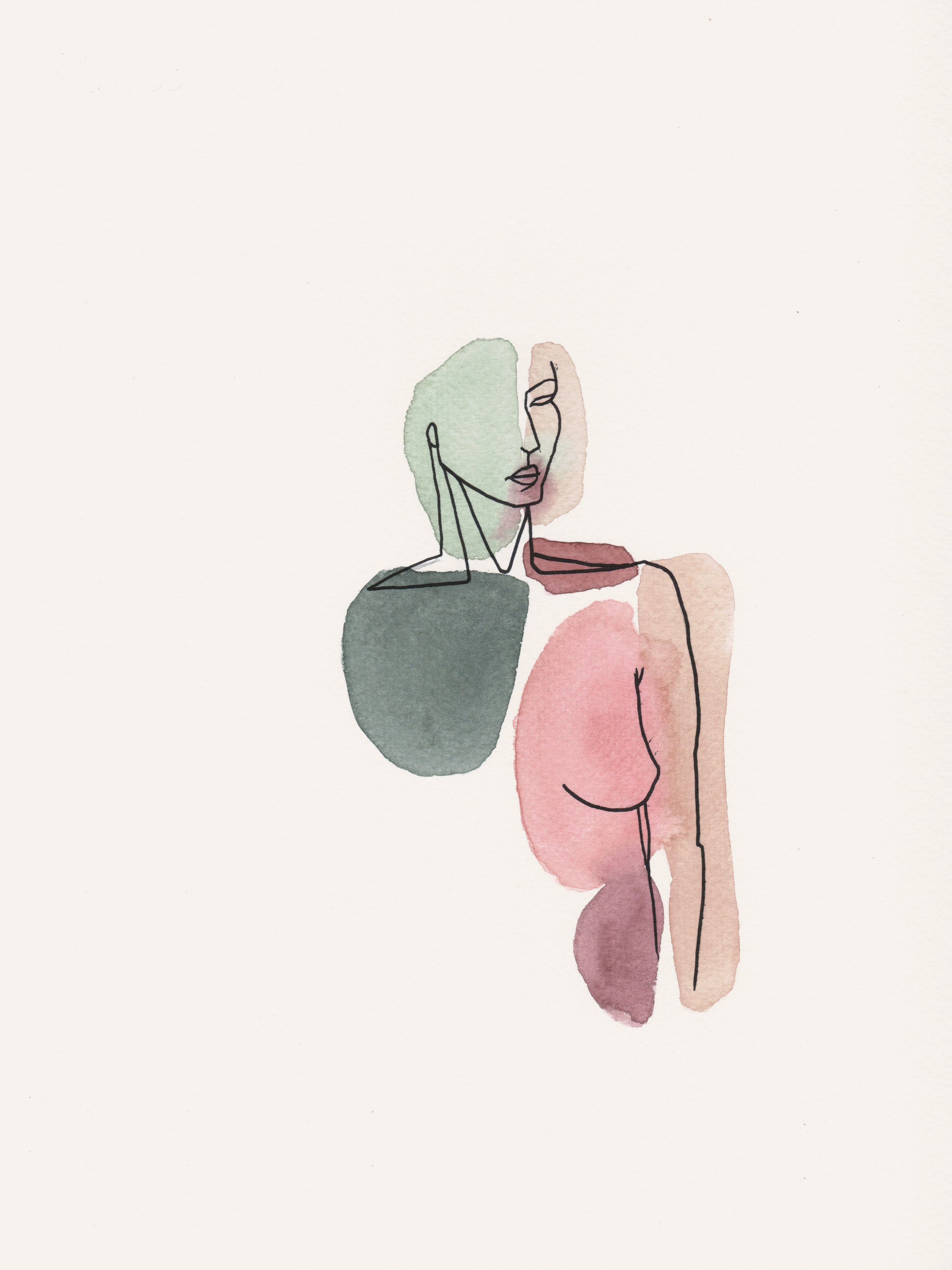 Sold - Woman gazing 9x12''