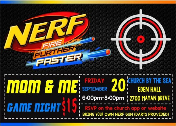 This is one night you don't want to miss (and your kids probably won't be happy with you if you miss the sign up). Space is limited so reserve your spot in advance. Roll up your sleeves and get ready to really play because nerf wars, dodgeball, silly games and dinner awaits! •	YOU MUST BRING YOUR OWN NERF GUN THAT USES STANDARD BULLETS (we will provide all bullets and safety glasses). •	For ages 4years old thru 5th grade. •	$15pp covers activities and dinner  RSVP Here: https://zcu.io/fS3l