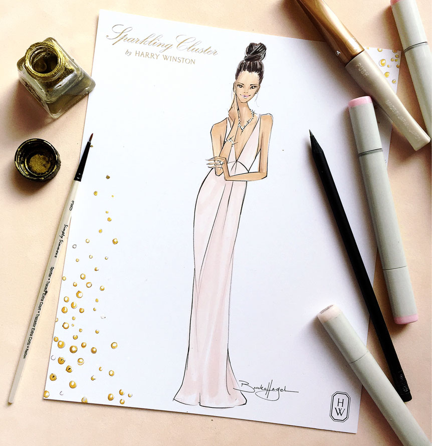 Harry Winston   Custom illustrations for two exclusive Harry Winston luncheons.