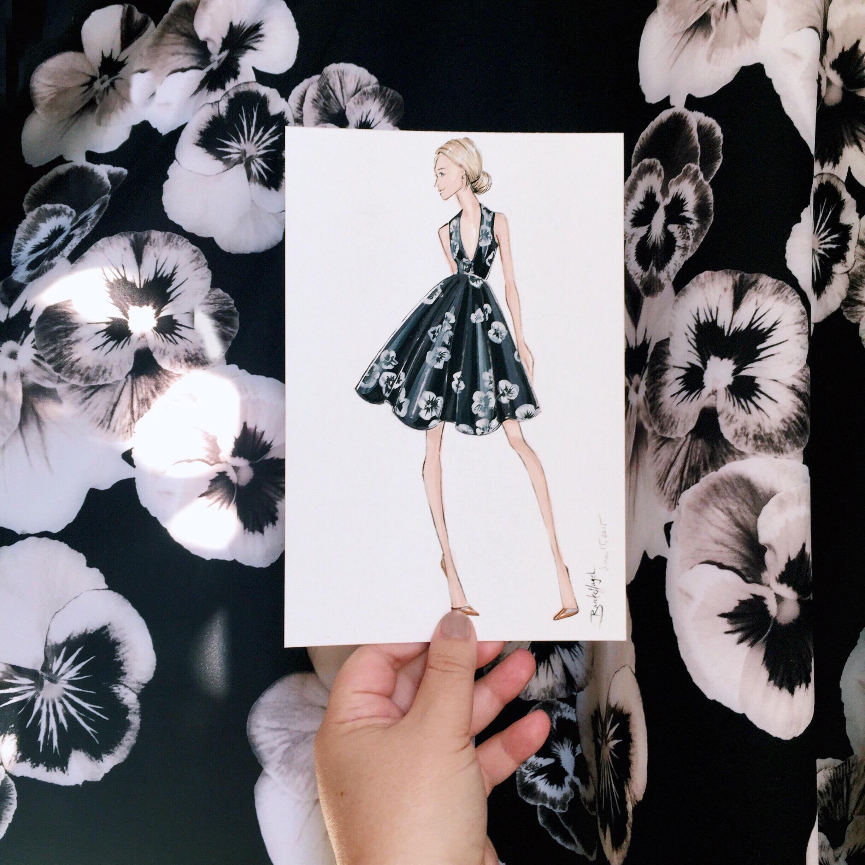 Portfolio Sketch   Asos   Portfolio collection illustration inspired by a pansy print Asos dress.