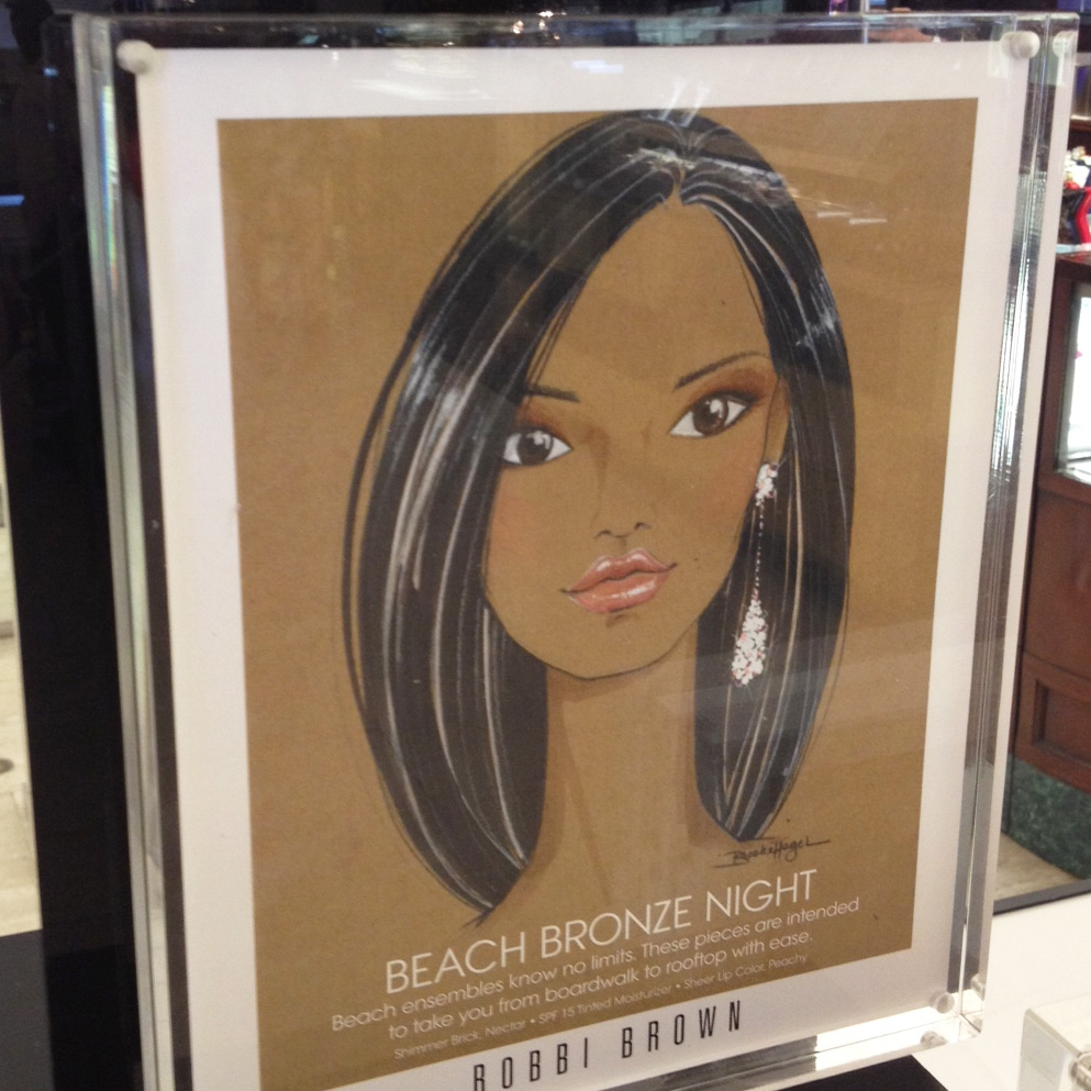 Vogue x Bobbi Brown Cosmetics   Beauty illustrations for Bobbi Brown displayed throughout Saks for a Vogue Magazine promotional event.