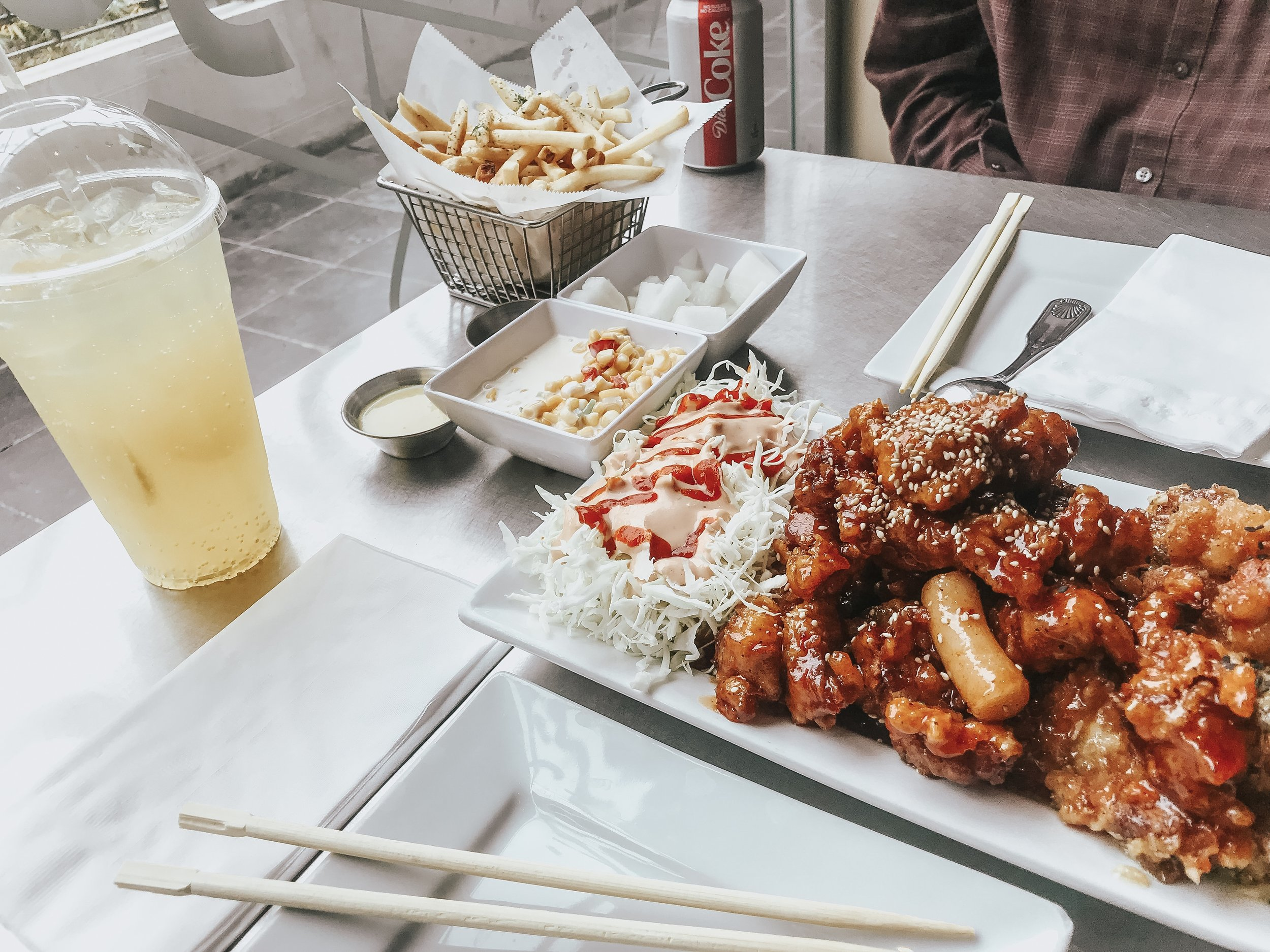 Combo A For 2-3 People 2 in 1 gangjung, french fries or onion ring, corn salad and 2 bottle soda.