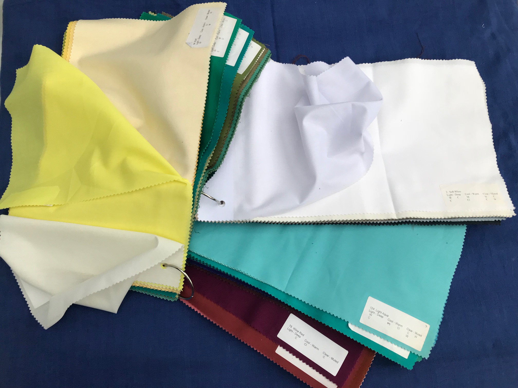 confirming drapes - 4 sets of colour drapes to show the client how their swatch colours compliment them.