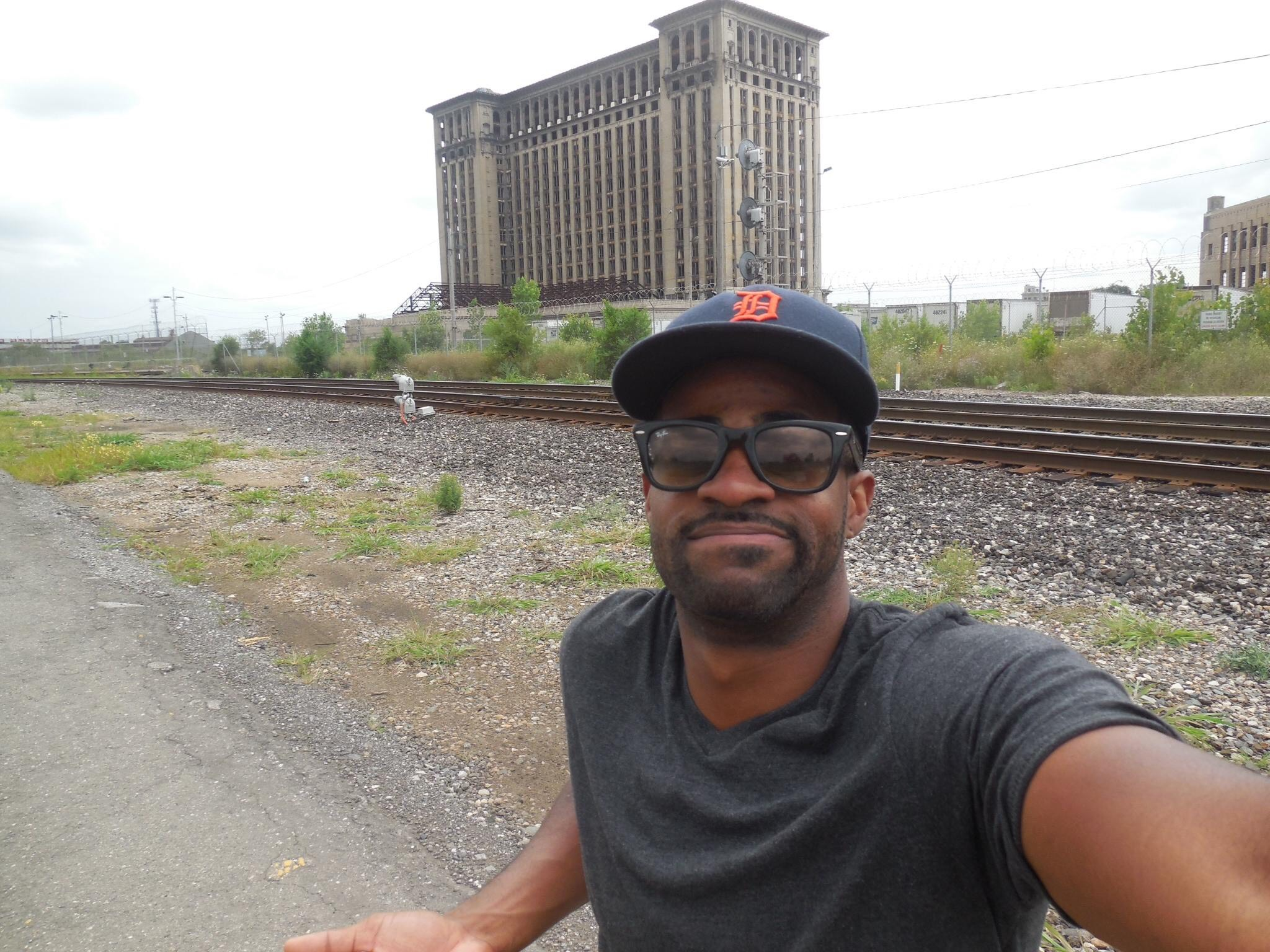 Marques exploring the Michigan Train Depot in Corktown