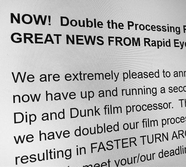 NOW!  Double the Processing Power. GREAT NEWS FROM Rapid Eye.  We are extremely pleased to announce we now have up and running a second colour Dip and Dunk film processor.  This means we have doubled our film processing power resulting in FASTER TURN AROUND TIMES to meet your/our deadlines.  COMING SOON…!! . Monday 25th !!! March 2019 {10) now 7 DAY DEAL.  Discounted slow turnaround film processing packages. More processing POWER means we can even speed up our BUDGET processing packages from 10 day to 7 days starting 25th March 2019.  Having double the processing power means we can process twice as much film.  When we have had too much film to process in the past it bottlenecks the whole process which means contacting and scanning is pushed back even though we have the power to contact print and roll scan.  New to Rapid Eye For enquiries or If you have commercial jobs to book in with tight deadlines please book in your job by email using this email.  info@rapideye.uk.com  Cheers Lee  www.rapideye.uk.com