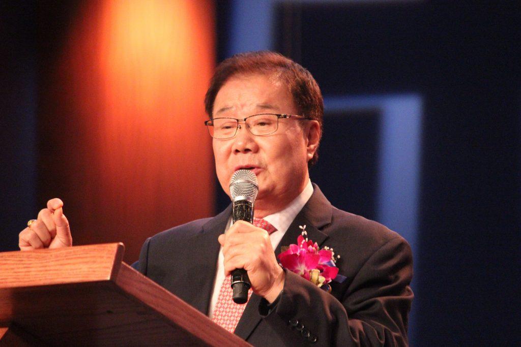 Dr. Ki Hoon Kim, FFWPU International Vice President, gives some opening remarks.