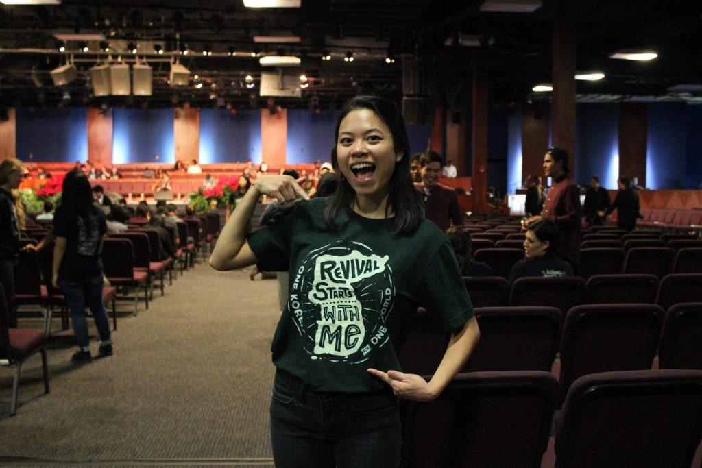 Emily Iseda of CARP UCLA reps the rally T-shirt.