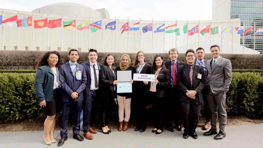 University of Bridgeport delegation at the United Nations, with Distinguished Delegation award