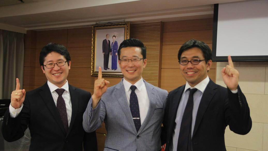 The CARP Presidents from America, Korea, and Japan (From left: America-Ushiroda, Korea-Kim, and Japan-Motoyama)