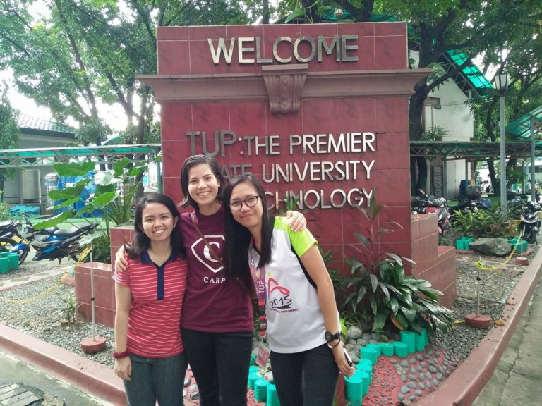 My generous tour guides, Rowena (left) and Shelaine (right), showing me around TUP campus.