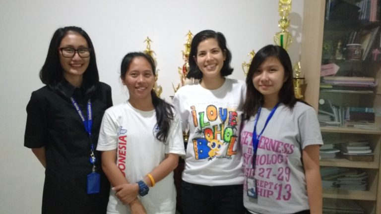 Maria Sembiring and I with University staff member (right) and Student Council President (left).