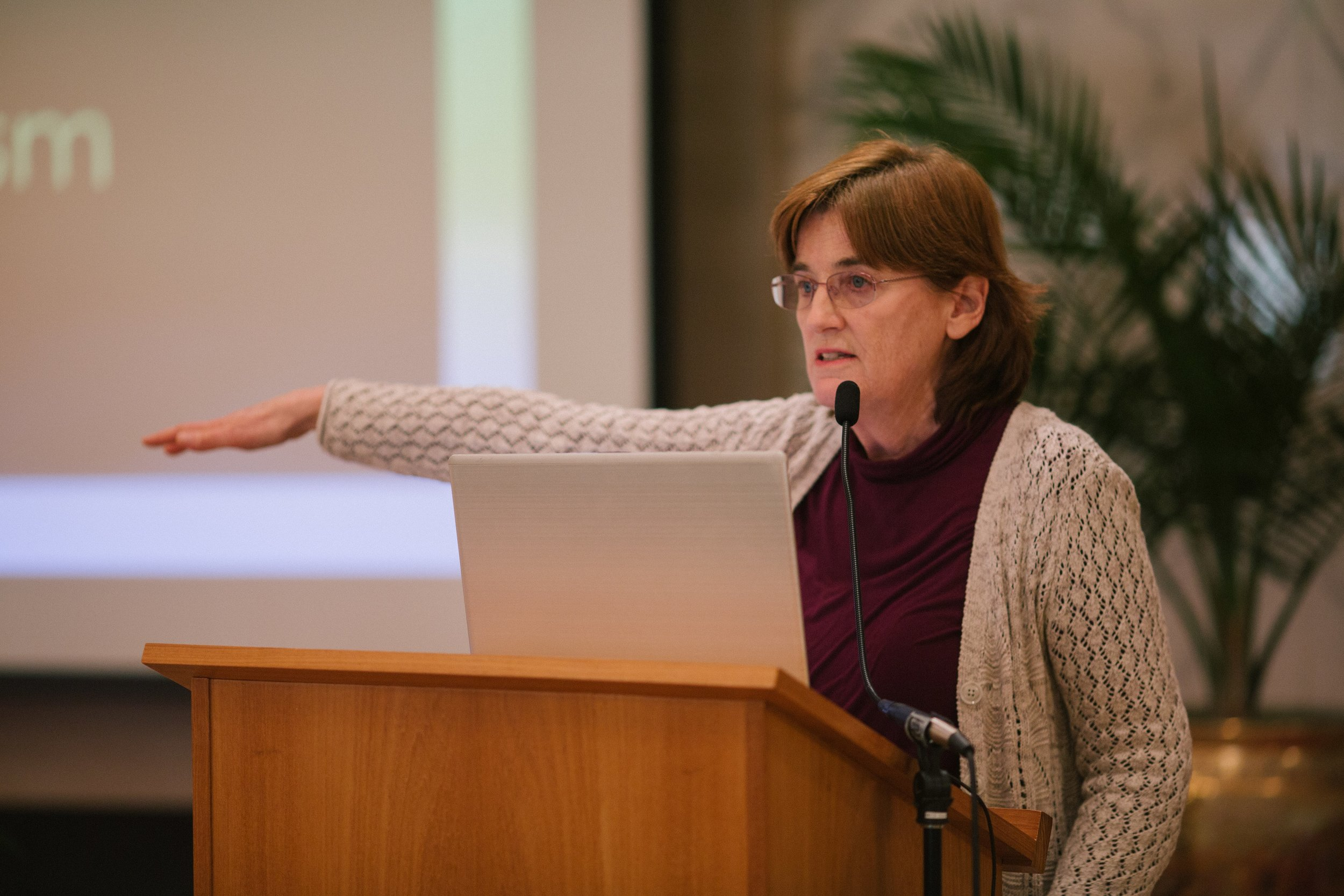 """Christine Froehlich gave a presentation on """"A History of Feminism."""""""