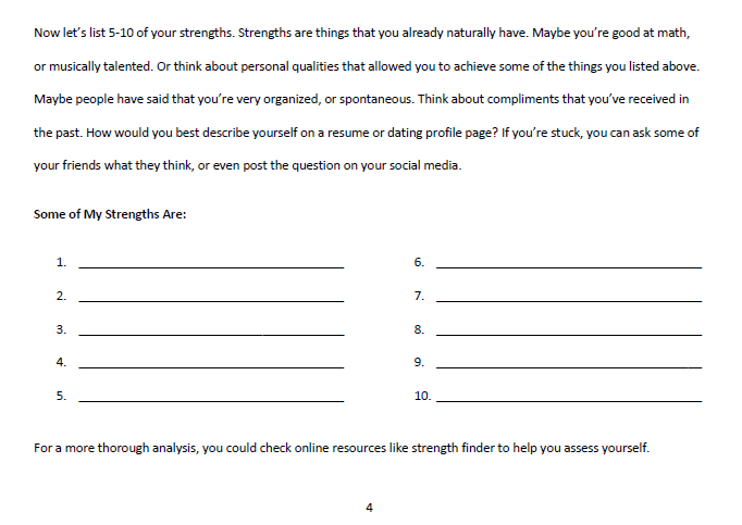 A sneak peek into the workbook for brainstorming the  W step.