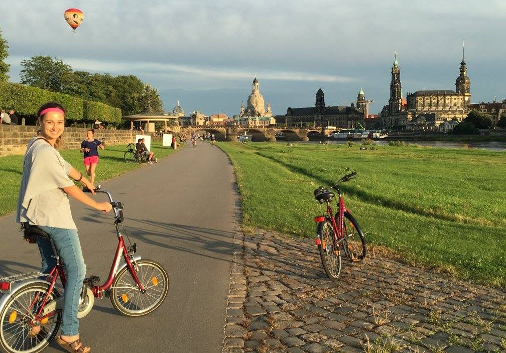 Kristin biking through Dresden, Germany in Summer 2016.