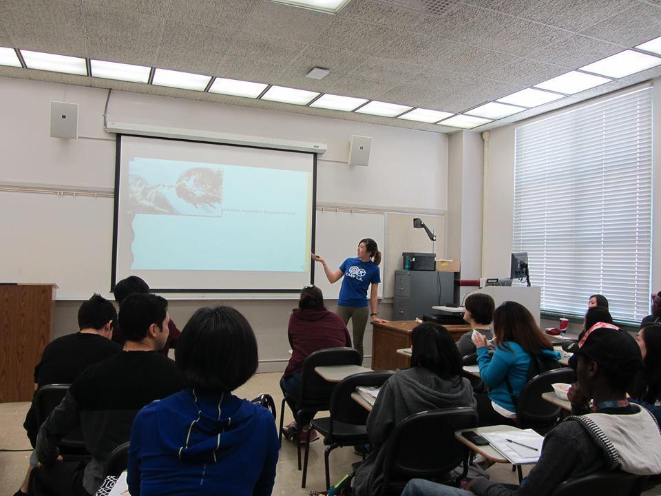 Jennifer sharing Unification Principles during a CARP Pasadena meeting.