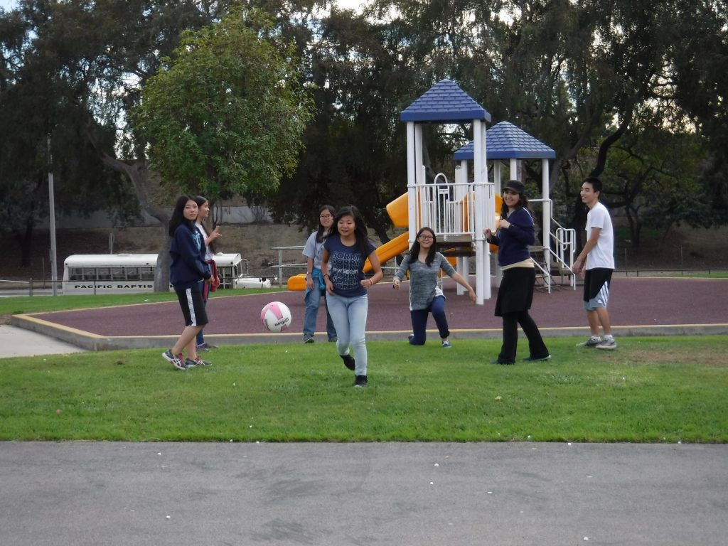 High School participants bond through sports during the retreat.
