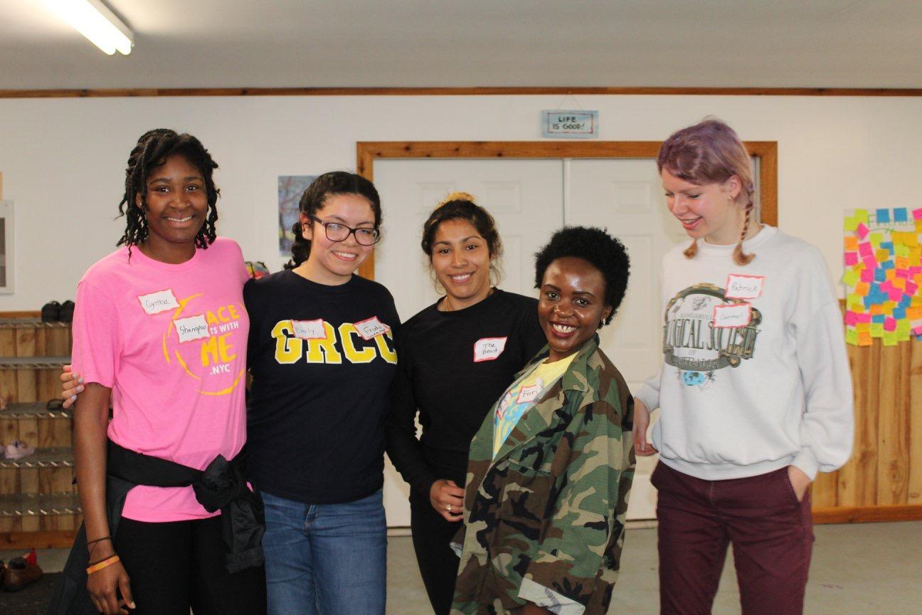 Montserrat (middle) with her group during the Michigan CARP retreat.