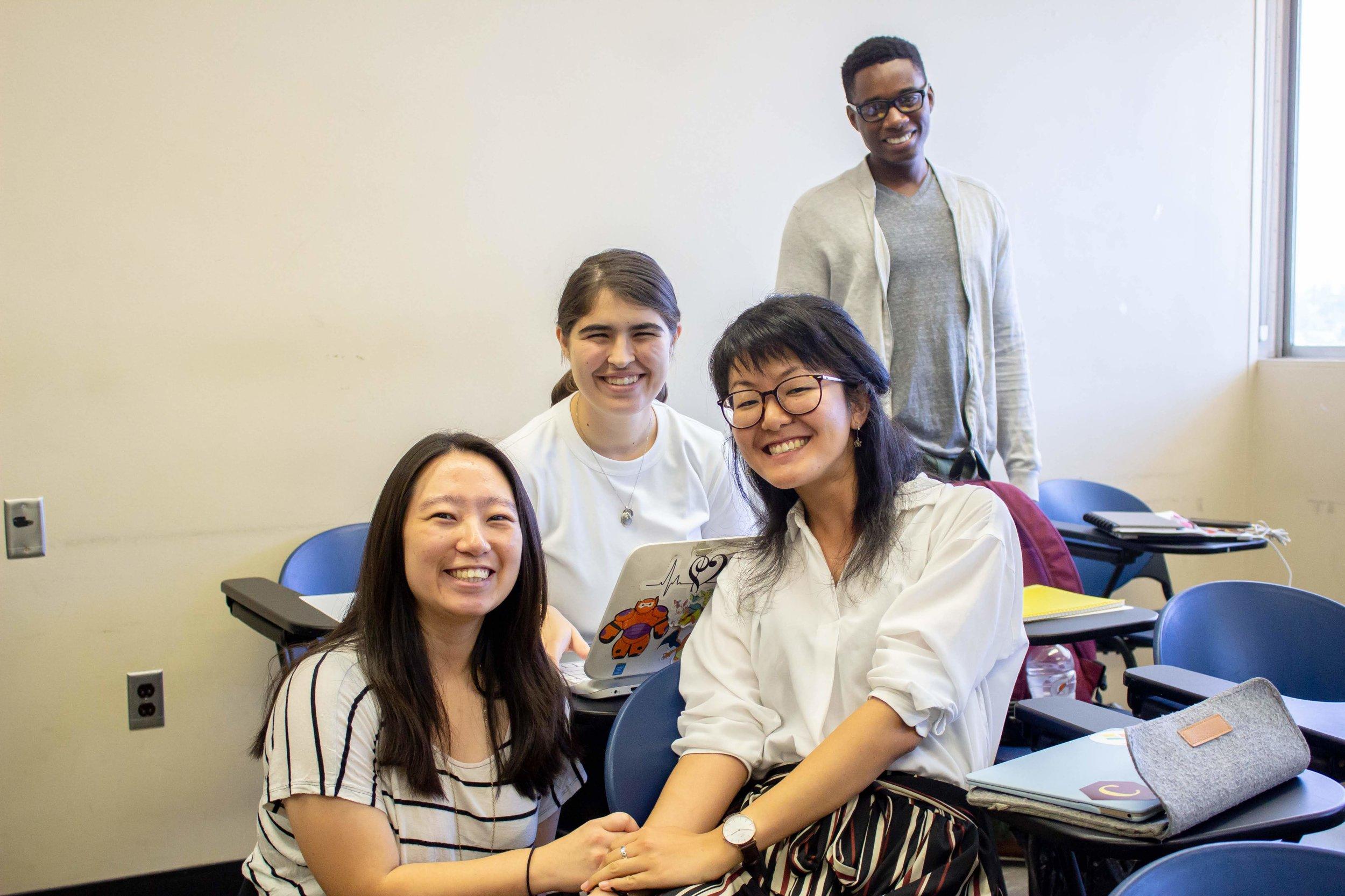 Satomi and the CSULA crew: Hitoe Hiraki (left), Sarah Takhar (middle back), and Jermaine Bishop (back right).