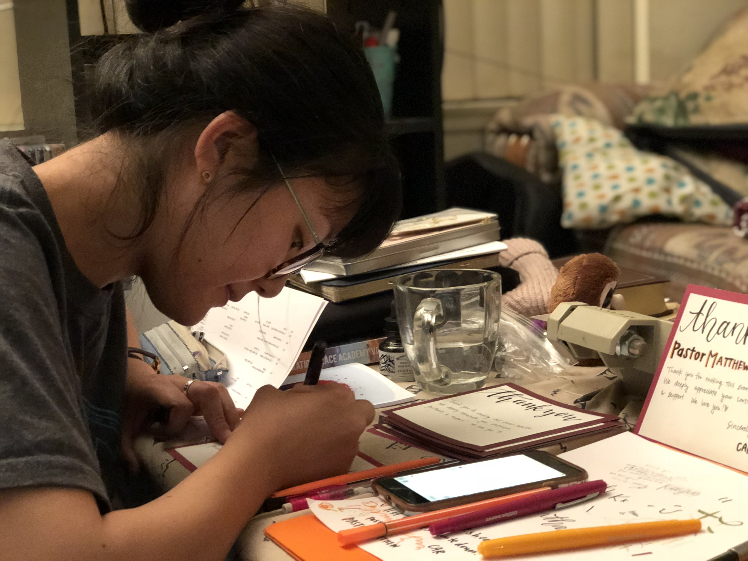 Satomi spent extra time to prepare Thank You cards for the VIPs at the Colloquium.