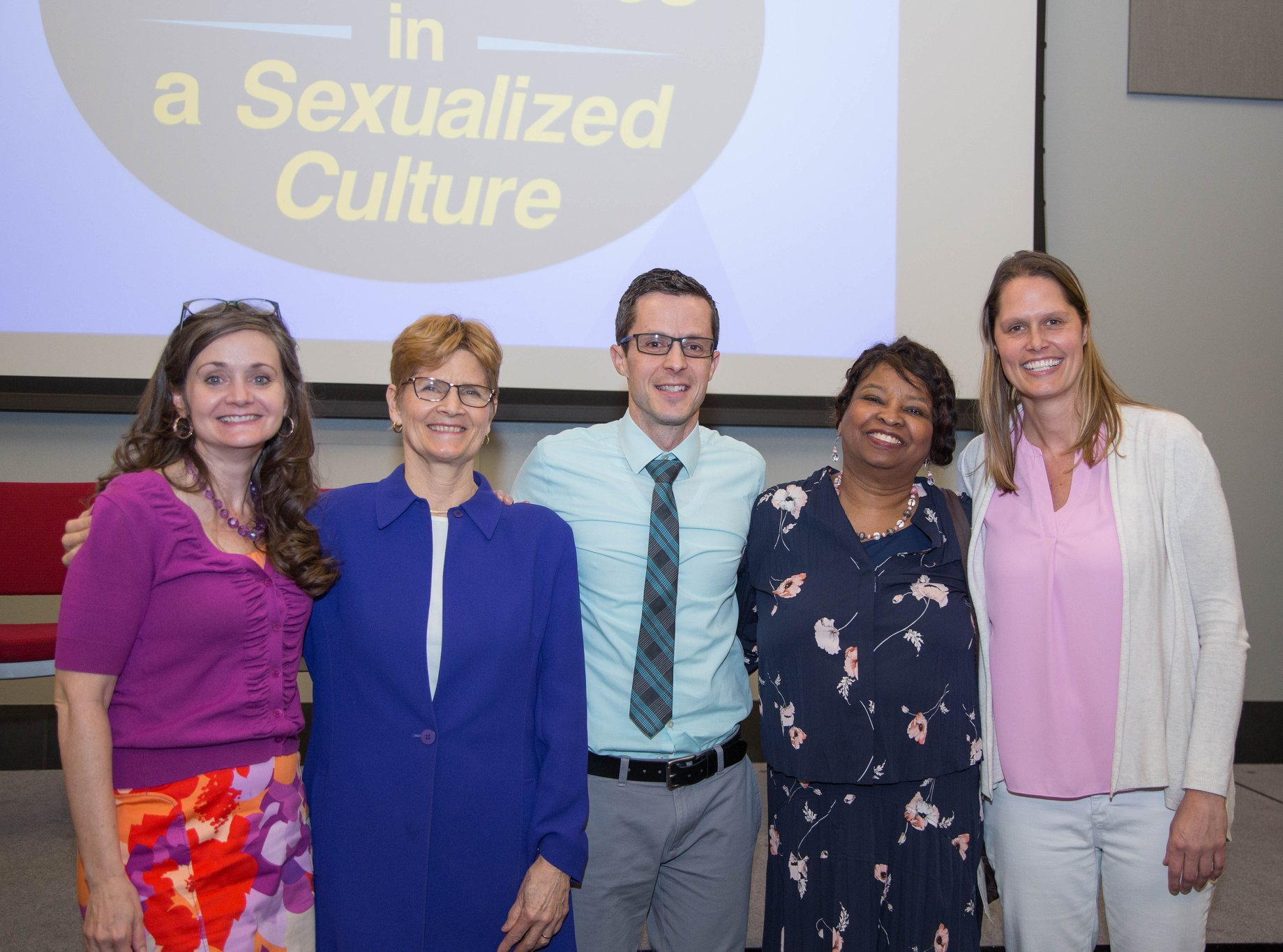 The featured speakers for the event: Lisa Thompson (left), Lynn Walsh (center left), Dr Timothy Rarick (Center), Dr Sandra Lowen (center right), and Melissa Holland (right) .
