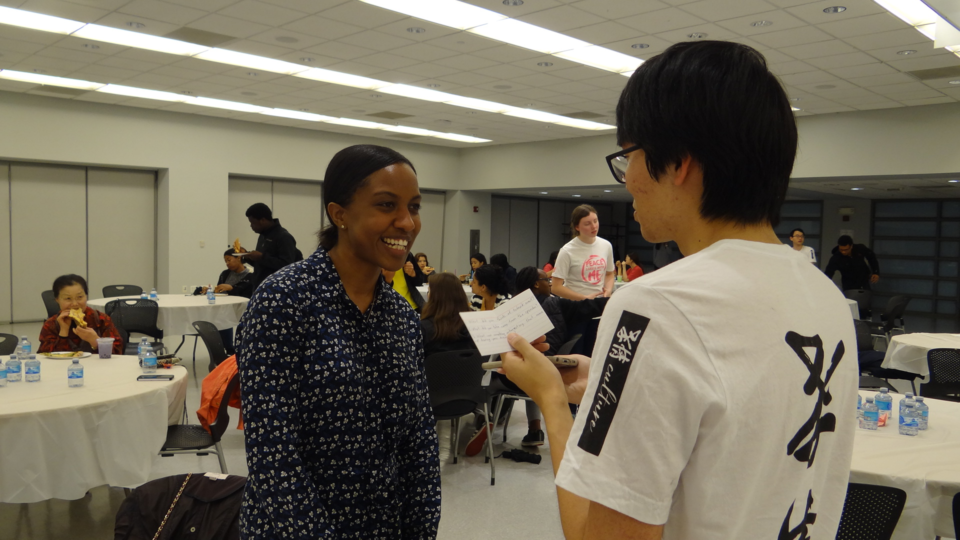 Jasmine Howard (left), Academic Advisor, with CARP NJIT Vice President, Masaho Shimobayashi, (right).